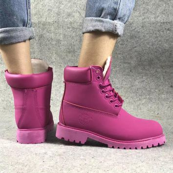 Timberland Rhubarb Boots Roseo Plush Black Red For Women Men Shoes Waterproof Martin Boots