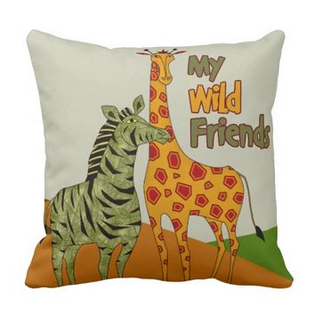 Peach Olive Giraffe Zebra Animals Throw Pillow