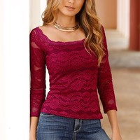 Boston Proper Lace square-neck top