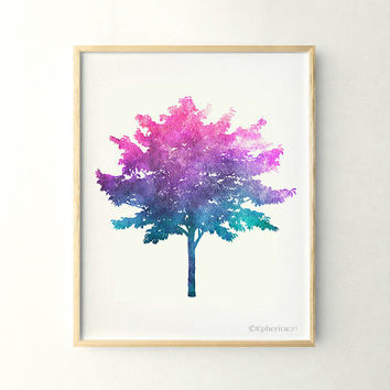 Blue purple Tree art, Modern art 11x14 poster print, Colorful art, Tree print, Printable art print, Living room wall art print, 11x14 print