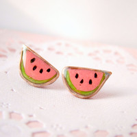 Watermelon stud earrings, kawaii watermelon, watermelon jewelry with polymer clay and copper wire