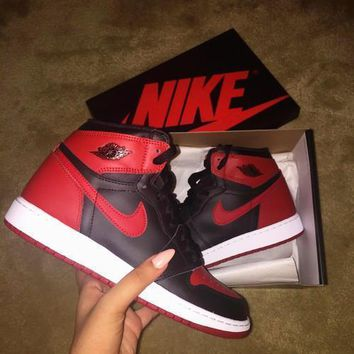 nike air jordan retro 1 high tops contrast sports shoes black redg csxy  number 1
