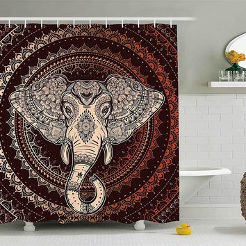 Tribal Elephant Boho Mandala Fabric Shower Curtain