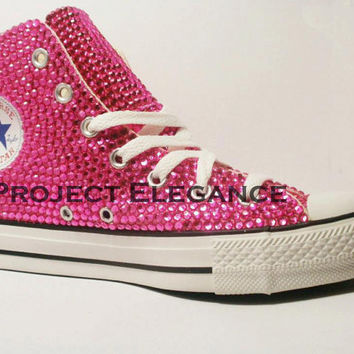 Hot Pink Crystal High Top Custom Converse US by ProjectElegance 185feb2f1
