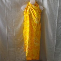 New yellow rayon sarong with sunshine pattern - Skirts
