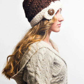 Knit Hat Brown Womens Hat - Hybrid Swirl Cloche Hat in Coconut Cream and Brown Knit Hat - Brown Hat Cream Hat Womens Accessories Winter Hat