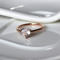 Trillion Cut 0.57ctw Fancy Pink Morganite Ring in 14K Rose gold Engagement Ring/ Wedding Ring/ Promise Ring