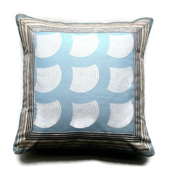 Geometric, blue, gray and cream cushion, throw pillow, homeware decor, 17 x 17 inches, striped border, patchwork waves design.