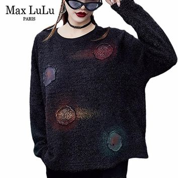 Max LuLu Fashion Korean Style Ladies Punk Pullovers Womens Ugly Christmas Sweaters Floral Jumper Woman Winter Clothes Plus Size