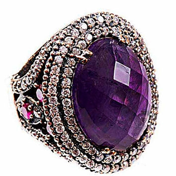 AMETHYST GEMSTONE DESIGN 925 Sterling silver ring