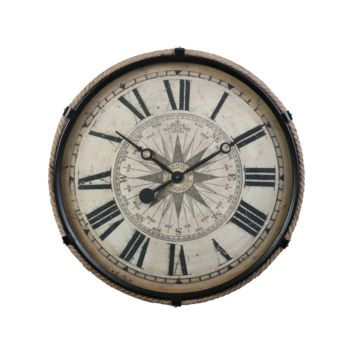 17th Century Mariner's Compass Rose Wall Clock 21-in