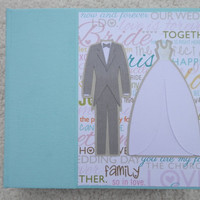 6x6 Premade Wedding Scrapbook Album in Turquoise/Grey