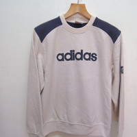 25% SALES ALERT Vintage 90's Adidas Big Spell Out Logo Sweatshirt Pull Over Sport Sweater Hip Hop Street Wear Size M