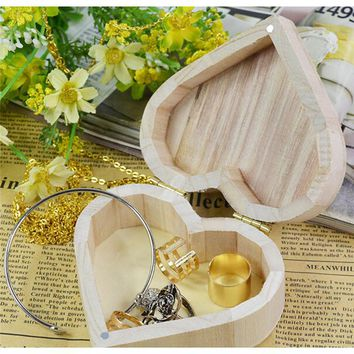 New Arrive Storage Boxes Heart Shape Wood Box Jewelry Box Wedding Gift Home Storage Bin Earrings Ring box IC880552
