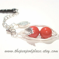 Phone Charm 2 Peas in a pod with inset leaf - Swarovski pearls - Best Friend - wire wrapped - Bridesmaids - BFF