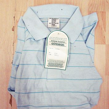 Vintage Deadstock Near Mint Striped Polo Blue Pattern Mod Shirt 2XL
