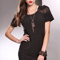 Black Scoop Neck Short Sleeves Mesh Cross Strap Stylish Dress @ Amiclubwear sexy dresses,sexy dress,prom dress,summer dress,spring dress,prom gowns,teens dresses,sexy party wear,women's cocktail dresses,ball dresses,sun dresses,trendy dresses,sweater dres