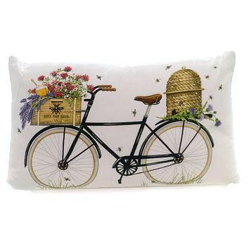 Home Decor BEE HIVE PILLOW Fabric Summer Da9074 Bicycle