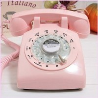 Pink Retro Old Fashioned Rotary Dial Telephone