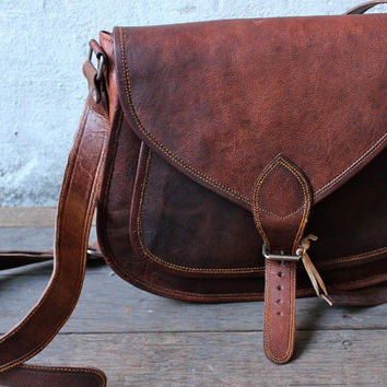 Leather Cross body messenger bag Leather purse by GenuineGoods786