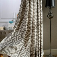 Elegant Polyester Cotton Blend Geometric Semi Blackout Curtain for Living Room Bedroom Decorative Window French Door Curtains