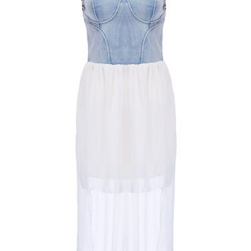 Studded Strap Denim Chiffon High-Low Dress
