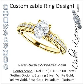 Cubic Zirconia Engagement Ring- The Melody (Customizable Oval Cut Style with Lacy Filigree Metal Band Plus Pavé and Peekaboo Accents)