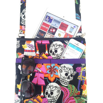 Sugar Skulls Crossbody Bag // Calaveras Sling Bag // Dia De Los Muertos Crossbody Purse