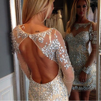 Luxury Vestidos Short Prom Dresses 2016 Sexy See through Beads Crystals Long Sleeve Backless Mini Prom Party Dress Formal dress