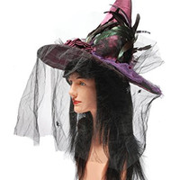 Loftus International Fashion Maroon Witch Hat with Rose & Black Veil