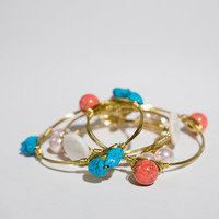 Ships free! Turquoise Stone Beaded Wire Wrapped Gold Bracelet (Inspired by the popular Bourbon & Bowties) - Great gift for bridesmaids