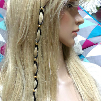 Metallic Gold Bead Suede Leather Hair Ties, Hair Wrap, Jewelry, Ponytail, Leather Bead Braided Hair Ties, gift