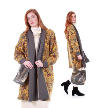 80s Vintage Mohair Duster Sweater Mustard Yellow and Gray Abstract Print Long Oversized Cardigan Winter Clothing Women Size Medium Large
