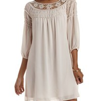 Natural Crochet & Chiffon Shift Dress by Charlotte Russe