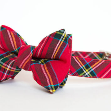 Christmas Dog Bow Tie Plaid Collar - Red Holiday Tartan