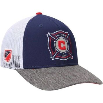 Mens Chicago Fire SC adidas Navy Blue Authentic Team Structured Adjustable Hat
