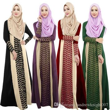 Women Plaid PlainLong Sleeve Muslim Islamic Abayas Lace A-line Maxi Dress 4 Colors DK723MZ Free Shipping Dropshipping