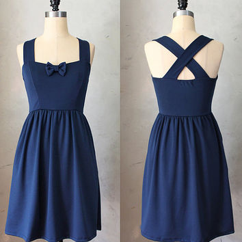 SWEETHEART - NAVY - Dark blue vintage inspired dress // nautical // retro // bridesmaid // pinup // bow // sweetheart neckline