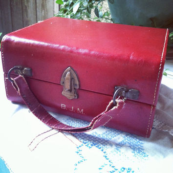 Vintage red train/cigar box 1920s to 1930s  by PillowsBeyond