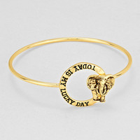 """Today Is My Lucky Day""  Elephant Gold Bracelet"