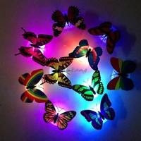 Hot 1 pcs Profeesioanl 7 Color Changing Butterfly LED Night Light Lamp with Suction Pad Home Romantic Decor