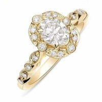 Luxinelle Natural Oval Diamond Vintage Halo Engagement Ring - 14K Yellow Gold 0.82TCW