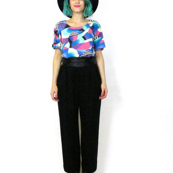 80s Black Wool Pants High Waisted Trousers with Leather Waistband and Pockets Vintage Designer Trousers (M/L)