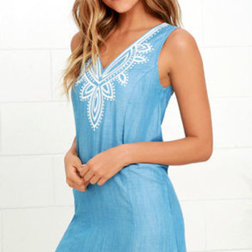 Happiest Days Light Blue Embroidered Chambray Dress