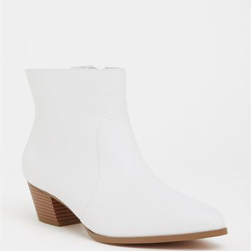 White Faux Leather Pointed Bootie (Wide Width)