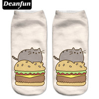 Deanfun New 3D Printed Pusheen Burger Women Socks Cute Low Cut Ankle Sock Multiple Cartons Fashion Style CNW10
