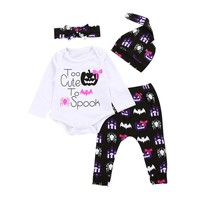 """4pcs Baby Girl Halloween Outfit """"Too Cute To Spook"""" White Bodysuit"""