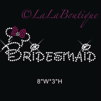 Bridesmaid - bridal iron on Rhinestone transfer - hotfix iron on bling transfer rhinestone - DIY motif - appliqué free heat press