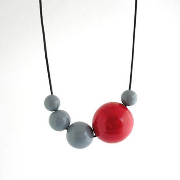 Gray red wooden necklace, wooden bead necklace, geometric necklace, adjustable long necklace, eco friendly jewelry, minimal jewelry