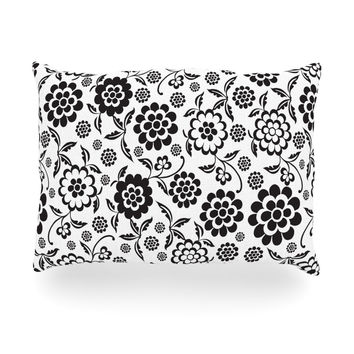"Nicole Ketchum ""Cherry Floral White"" Oblong Pillow"